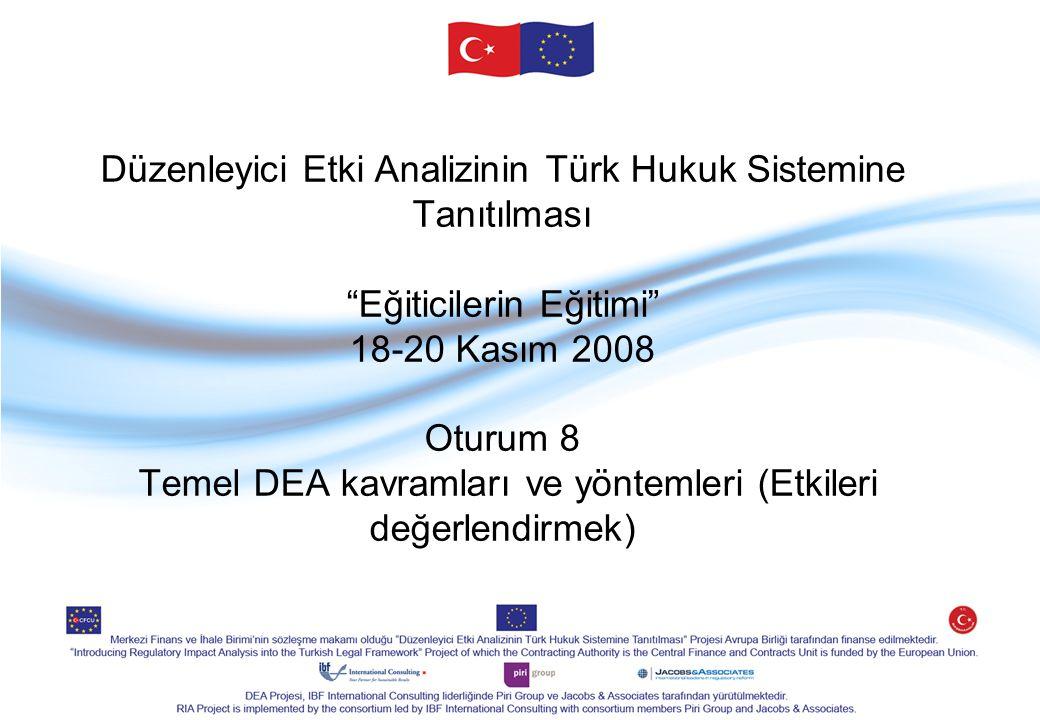"""Düzenleyici Etki Analizinin Türk Hukuk Sistemine Tanıtılması """"Eğiticilerin Eğitimi"""" 18-20 Kasım 2008 Oturum 8 Temel DEA kavramları ve yöntemleri (Etki"""