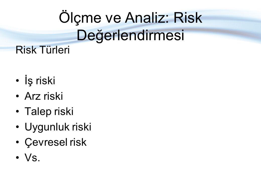 Ölçme ve Analiz: Risk Değerlendirmesi •Risk değerlendirmesi, riske göre ayarlanmış faydaların riske ayarlanmış maliyetlerindan fazla veya ters bir sonuç ihtimalin maliyetinin önleyici eylemi gerektirecek kadar yüksek olup olmadığına dair bir karar vermeyi sağlar.