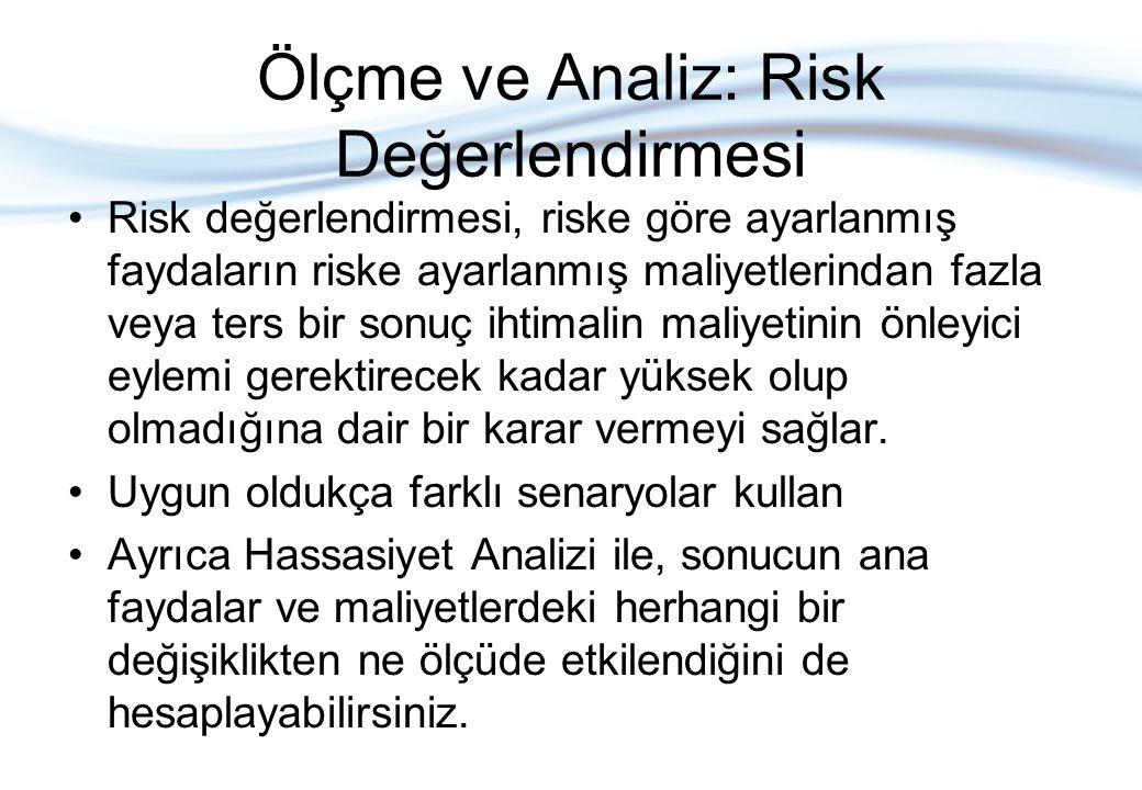 Ölçme ve Analiz: Risk Değerlendirmesi •Risk değerlendirmesi, riske göre ayarlanmış faydaların riske ayarlanmış maliyetlerindan fazla veya ters bir son
