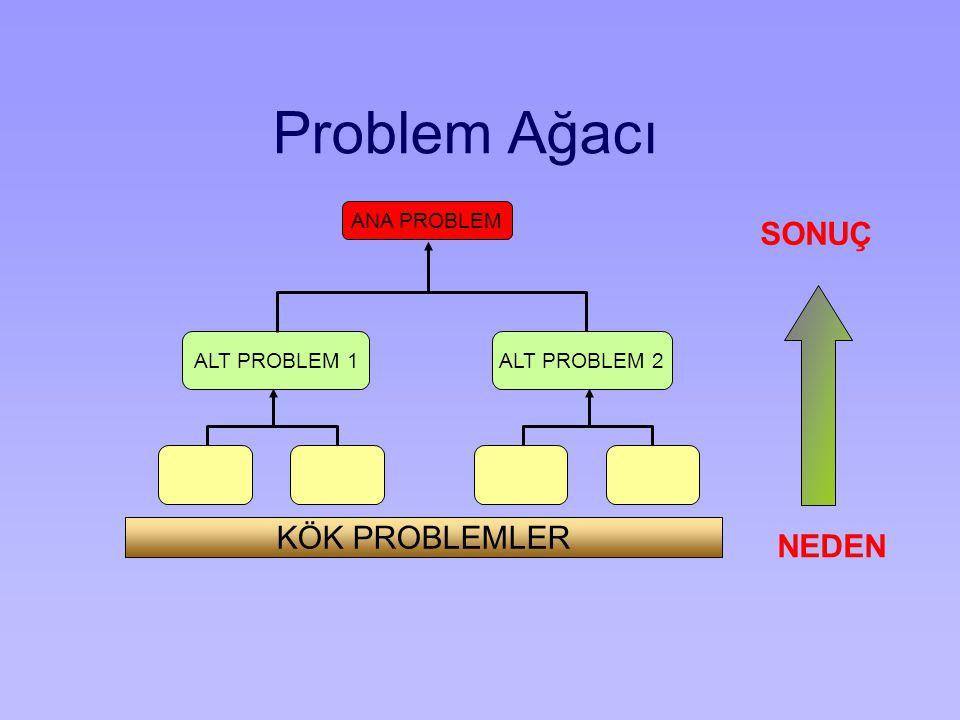 NEDEN SONUÇ ANA PROBLEM ALT PROBLEM 1 ALT PROBLEM 2 KÖK PROBLEMLER Problem Ağacı