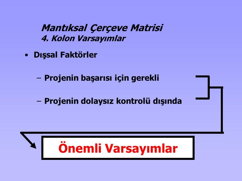 •Dışsal Faktörler –Projenin başarısı için gerekli –Projenin dolaysız kontrolü dışında Önemli Varsayımlar Mantıksal Çerçeve Matrisi 4. Kolon Varsayımla
