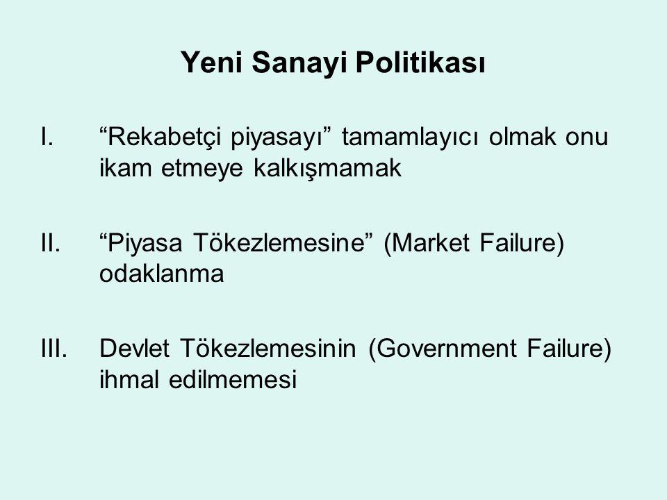 """Yeni Sanayi Politikası I.""""Rekabetçi piyasayı"""" tamamlayıcı olmak onu ikam etmeye kalkışmamak II.""""Piyasa Tökezlemesine"""" (Market Failure) odaklanma III.D"""