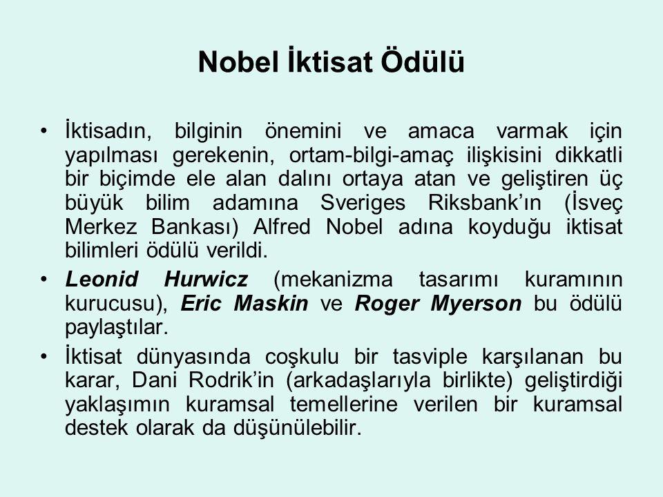 Nobel İktisat Ödülü •İktisadın, bilginin önemini ve amaca varmak için yapılması gerekenin, ortam-bilgi-amaç ilişkisini dikkatli bir biçimde ele alan d