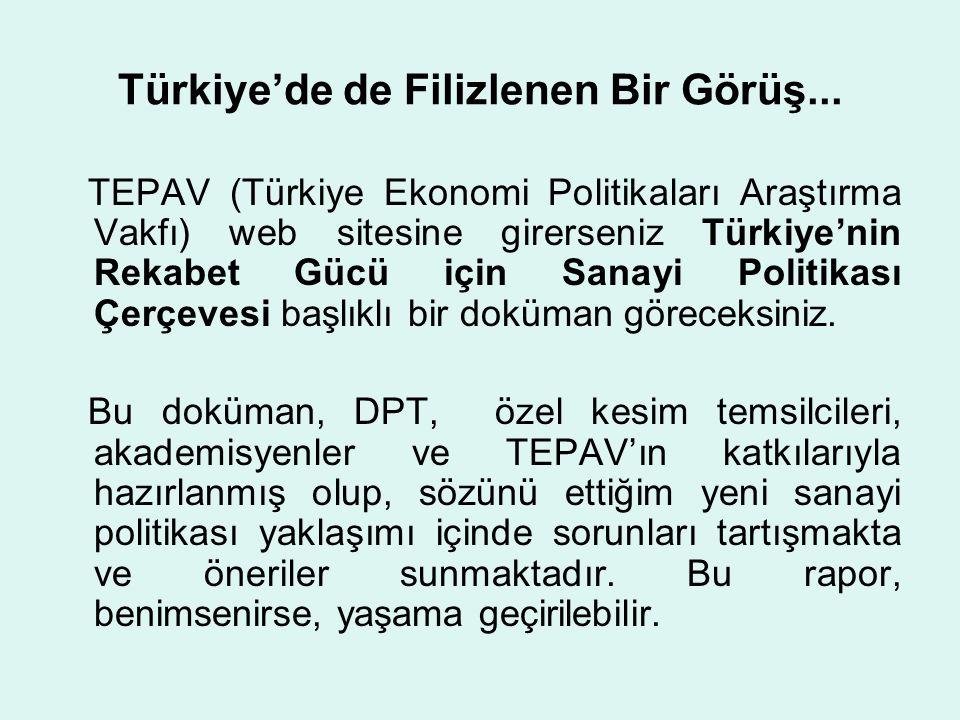 Türkiye'de de Filizlenen Bir Görüş... TEPAV (Türkiye Ekonomi Politikaları Araştırma Vakfı) web sitesine girerseniz Türkiye'nin Rekabet Gücü için Sanay