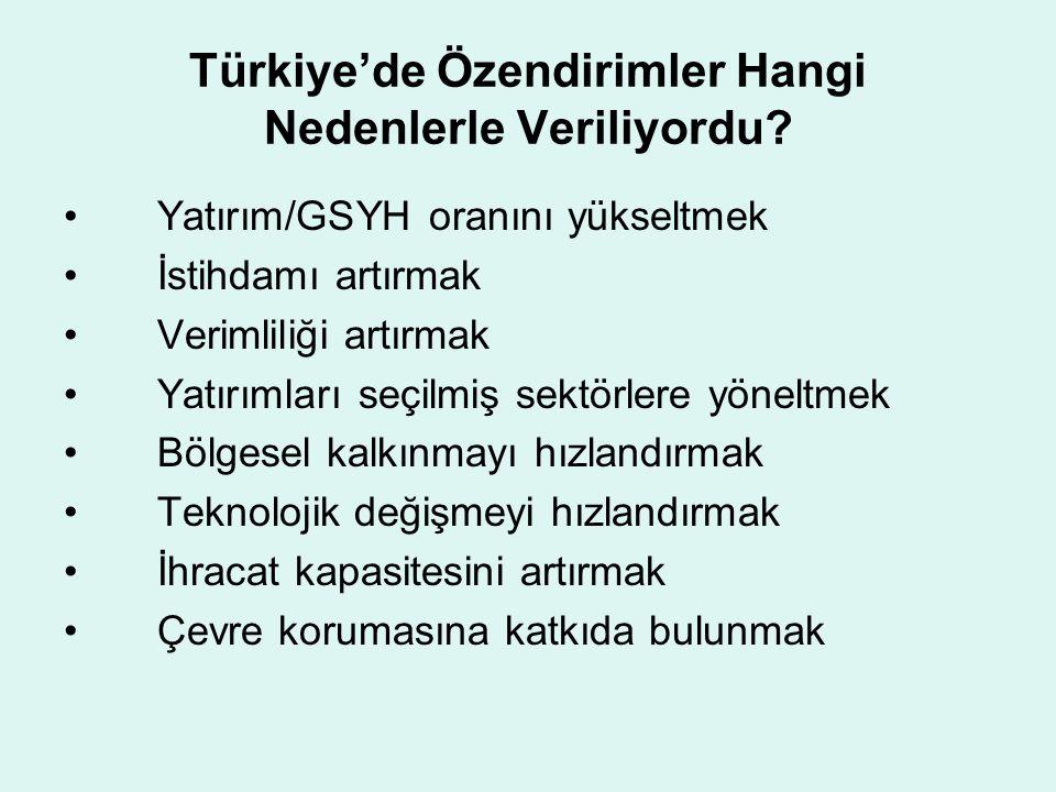 Türkiye'de Özendirimler Hangi Nedenlerle Veriliyordu? •Yatırım/GSYH oranını yükseltmek •İstihdamı artırmak •Verimliliği artırmak •Yatırımları seçilmiş