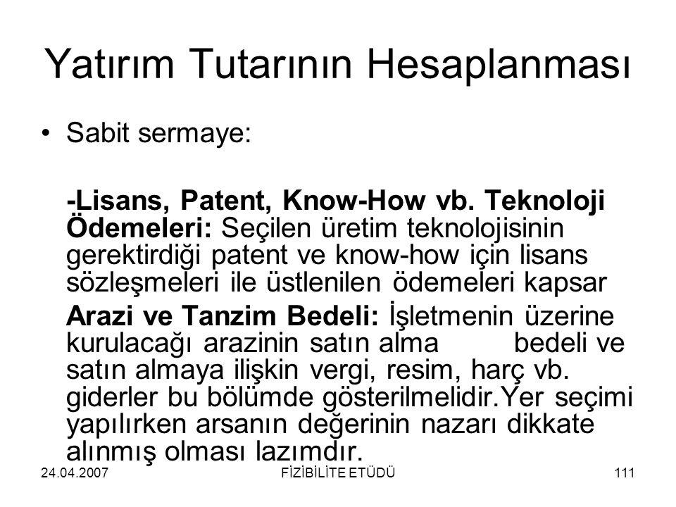 24.04.2007FİZİBİLİTE ETÜDÜ111 Yatırım Tutarının Hesaplanması •Sabit sermaye: -Lisans, Patent, Know-How vb. Teknoloji Ödemeleri: Seçilen üretim teknolo