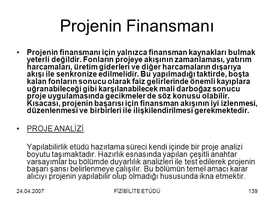 24.04.2007FİZİBİLİTE ETÜDÜ139 Projenin Finansmanı •Projenin finansmanı için yalnızca finansman kaynakları bulmak yeterli değildir. Fonların projeye ak