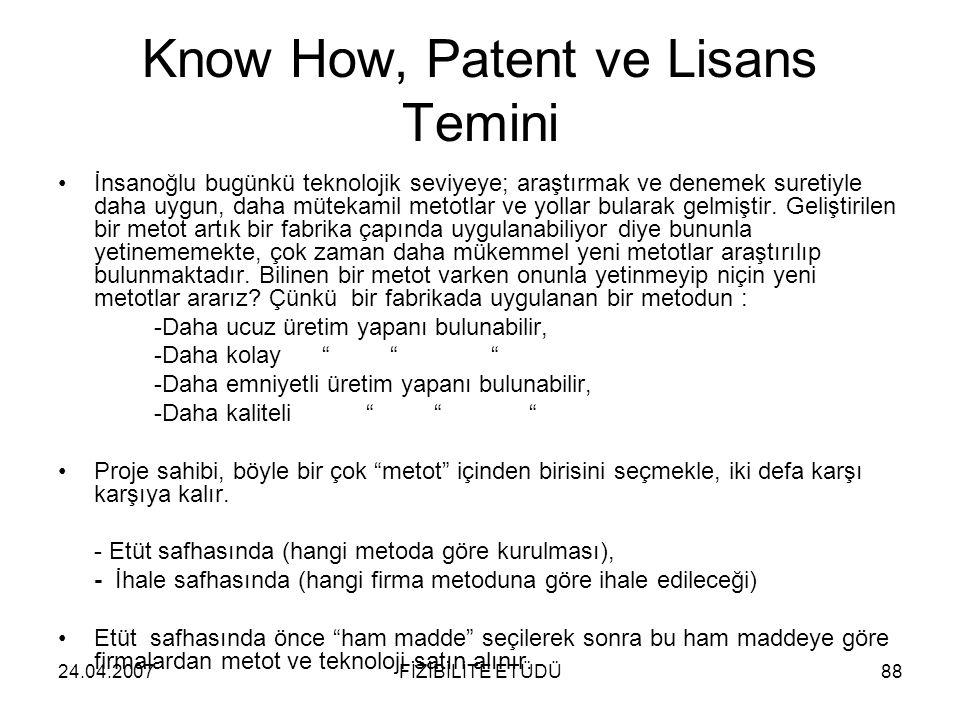 24.04.2007FİZİBİLİTE ETÜDÜ88 Know How, Patent ve Lisans Temini •İnsanoğlu bugünkü teknolojik seviyeye; araştırmak ve denemek suretiyle daha uygun, dah