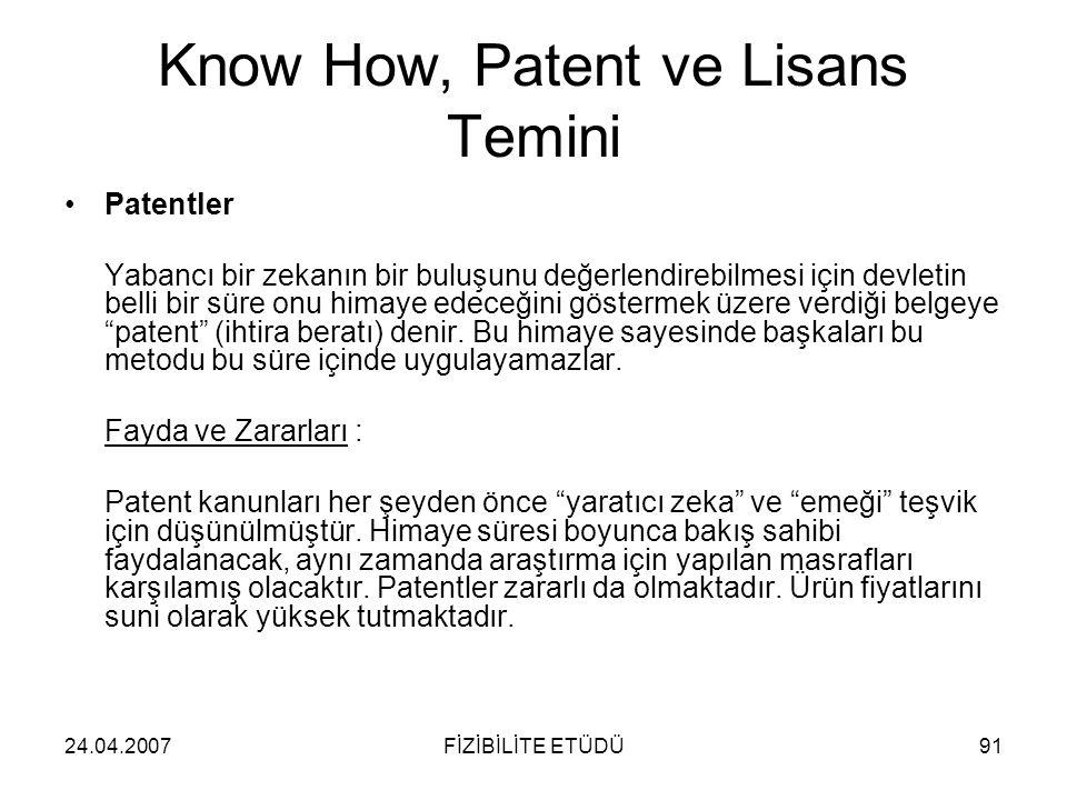 24.04.2007FİZİBİLİTE ETÜDÜ91 Know How, Patent ve Lisans Temini •Patentler Yabancı bir zekanın bir buluşunu değerlendirebilmesi için devletin belli bir