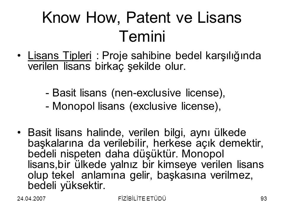24.04.2007FİZİBİLİTE ETÜDÜ93 Know How, Patent ve Lisans Temini •Lisans Tipleri : Proje sahibine bedel karşılığında verilen lisans birkaç şekilde olur.