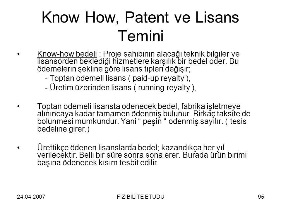 24.04.2007FİZİBİLİTE ETÜDÜ95 Know How, Patent ve Lisans Temini •Know-how bedeli : Proje sahibinin alacağı teknik bilgiler ve lisansörden beklediği hiz