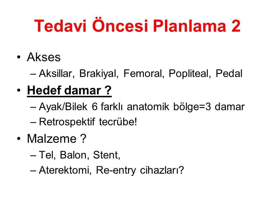 Tedavi Öncesi Planlama 2 •Akses –Aksillar, Brakiyal, Femoral, Popliteal, Pedal •Hedef damar ? –Ayak/Bilek 6 farklı anatomik bölge=3 damar –Retrospekti