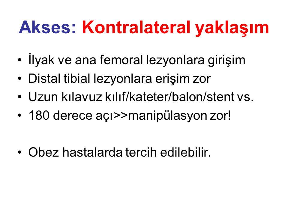 Akses: Kontralateral yaklaşım •İlyak ve ana femoral lezyonlara girişim •Distal tibial lezyonlara erişim zor •Uzun kılavuz kılıf/kateter/balon/stent vs