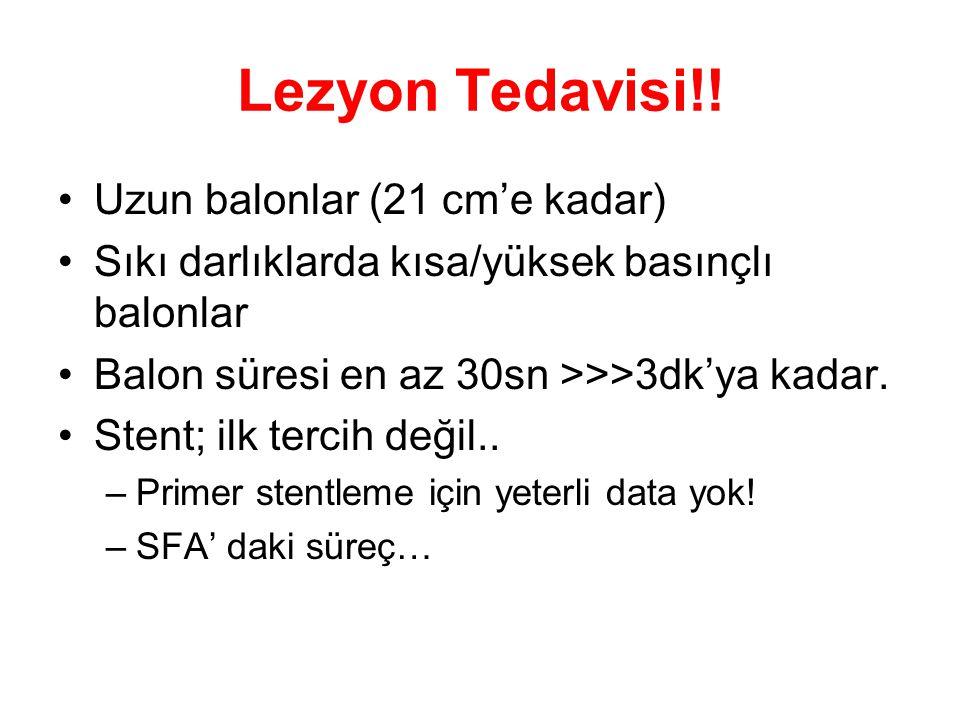 Lezyon Tedavisi!! •Uzun balonlar (21 cm'e kadar) •Sıkı darlıklarda kısa/yüksek basınçlı balonlar •Balon süresi en az 30sn >>>3dk'ya kadar. •Stent; ilk