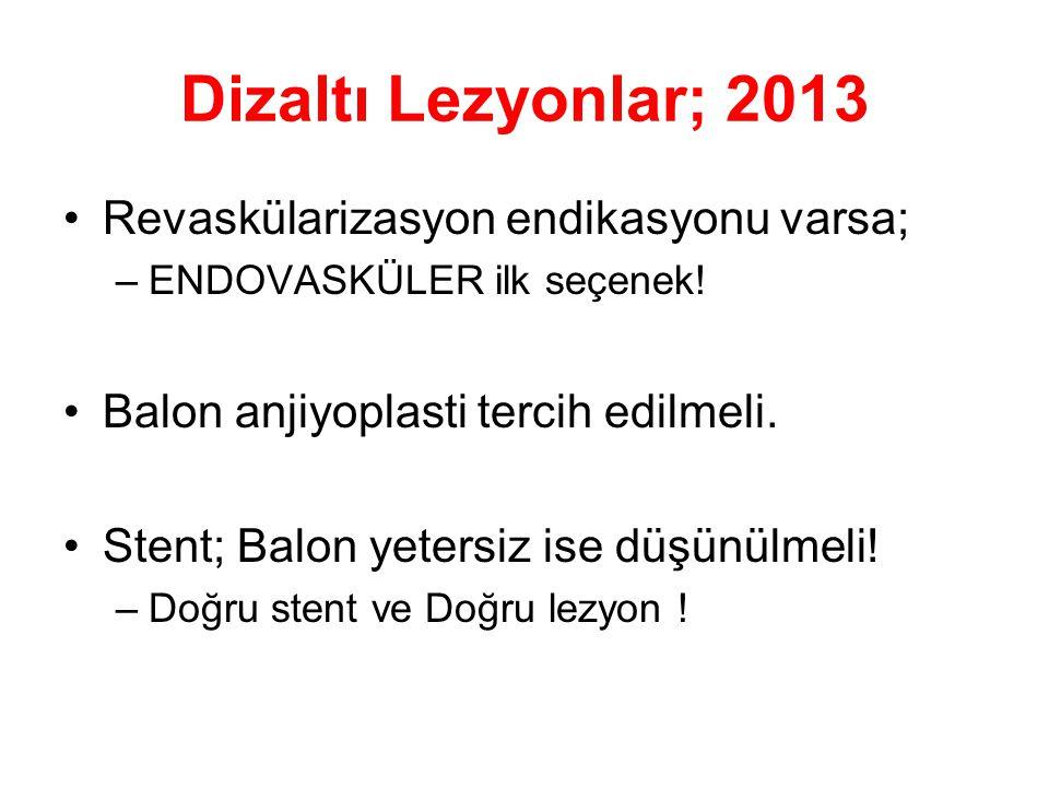 Dizaltı Lezyonlar; 2013 •Revaskülarizasyon endikasyonu varsa; –ENDOVASKÜLER ilk seçenek! •Balon anjiyoplasti tercih edilmeli. •Stent; Balon yetersiz i