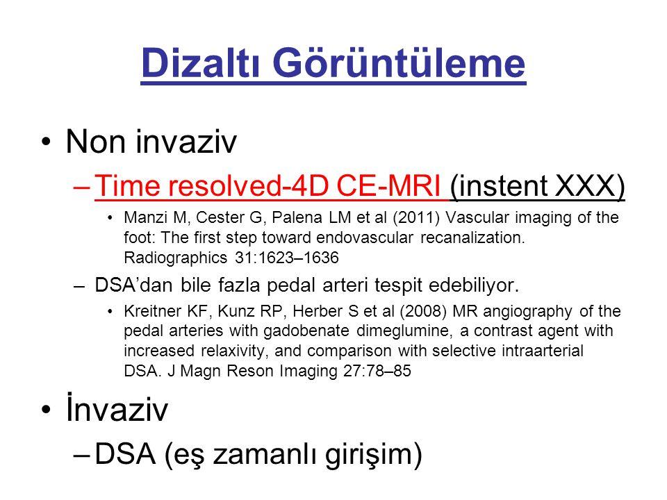 Dizaltı Görüntüleme •Non invaziv –Time resolved-4D CE-MRI (instent XXX) •Manzi M, Cester G, Palena LM et al (2011) Vascular imaging of the foot: The f