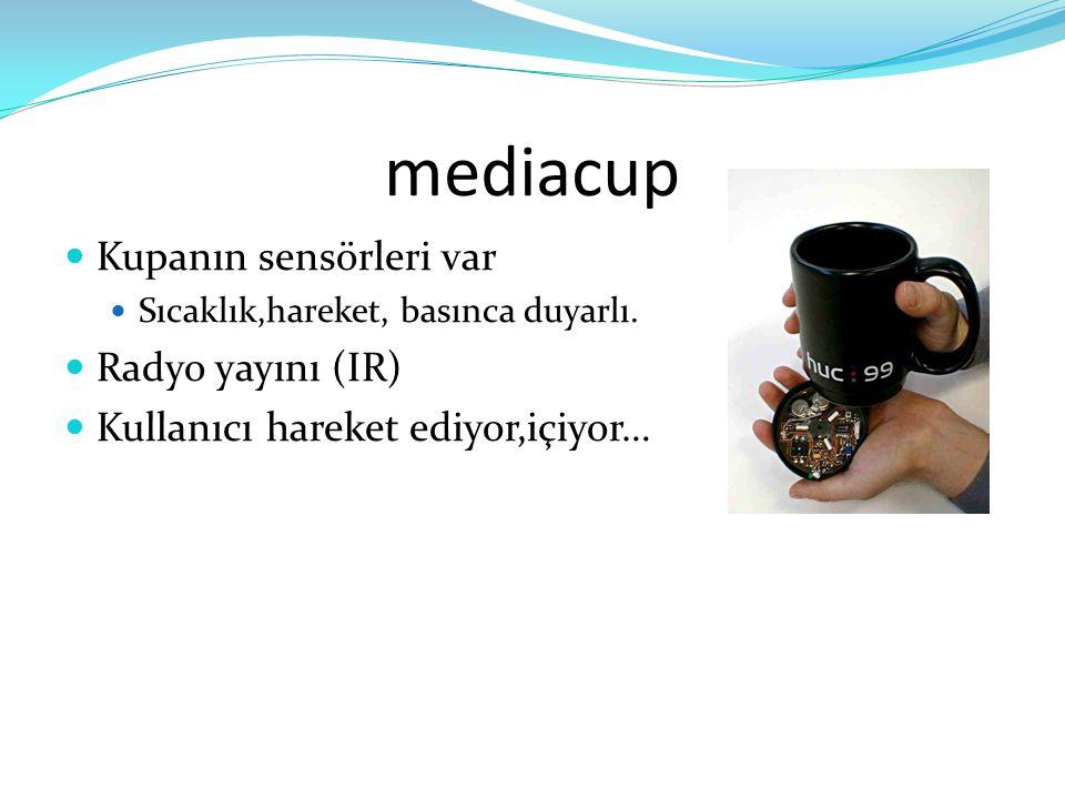 mediacup  Kupanın sensörleri var  Sıcaklık,hareket, basınca duyarlı.  Radyo yayını (IR)  Kullanıcı hareket ediyor,içiyor…