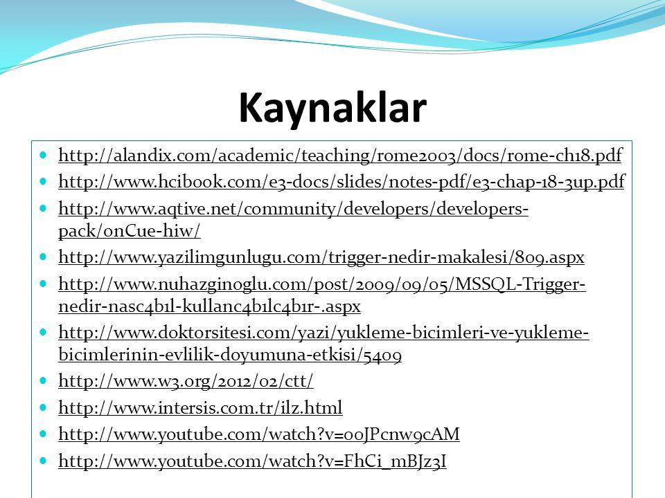 Kaynaklar  http://alandix.com/academic/teaching/rome2003/docs/rome-ch18.pdf http://alandix.com/academic/teaching/rome2003/docs/rome-ch18.pdf  http:/