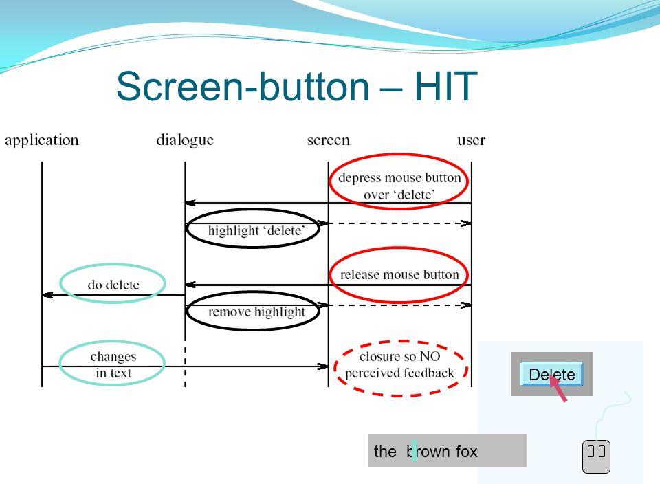 9 Screen-button – HIT Delete the quick brown quick the quick brown quick Delete the quick brown quick Delete the brown fox