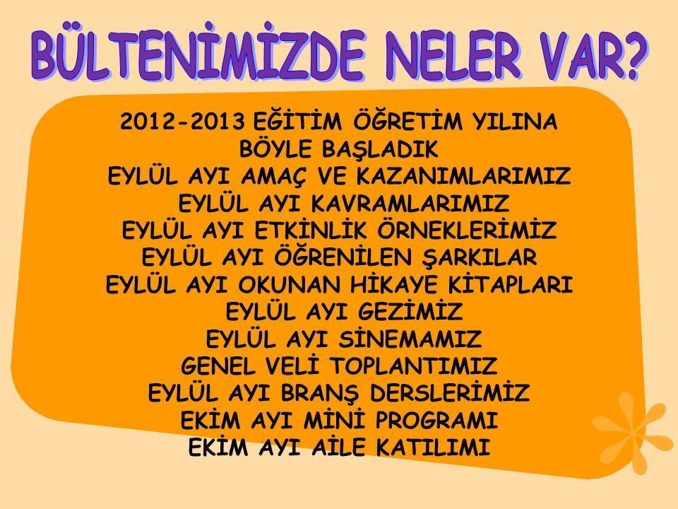 2012-2013 EĞİTİM ÖĞRETİM YILINA BÖYLE BAŞLADIK EYLÜL AYI AMAÇ VE KAZANIMLARIMIZ EYLÜL AYI KAVRAMLARIMIZ EYLÜL AYI ETKİNLİK ÖRNEKLERİMİZ EYLÜL AYI ÖĞRE
