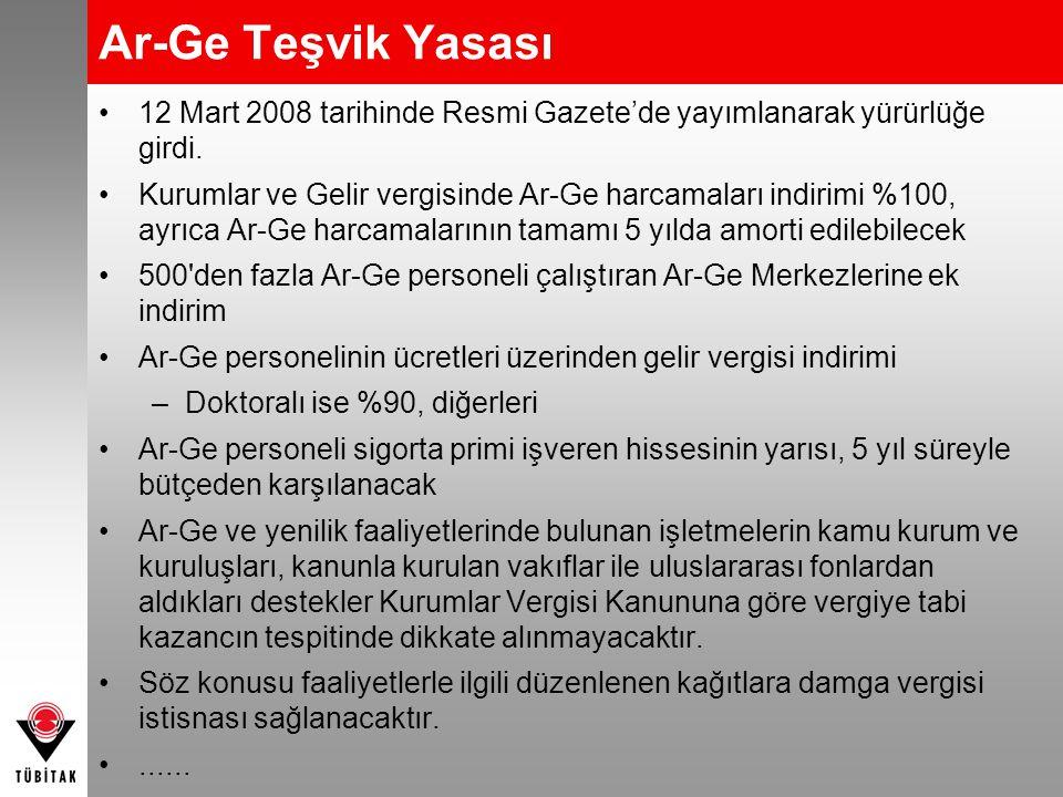 Ar-Ge Teşvik Yasası •12 Mart 2008 tarihinde Resmi Gazete'de yayımlanarak yürürlüğe girdi. •Kurumlar ve Gelir vergisinde Ar-Ge harcamaları indirimi %10
