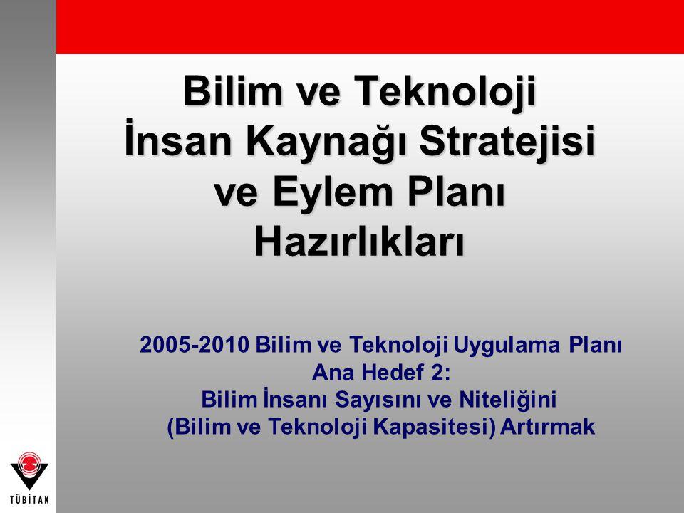 Bilim ve Teknoloji İnsan Kaynağı Stratejisi ve Eylem Planı Hazırlıkları 2005-2010 Bilim ve Teknoloji Uygulama Planı Ana Hedef 2: Bilim İnsanı Sayısını