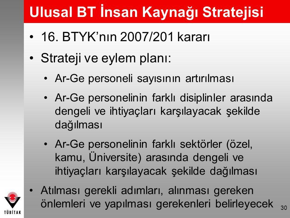 30 Ulusal BT İnsan Kaynağı Stratejisi •16. BTYK'nın 2007/201 kararı •Strateji ve eylem planı: •Ar-Ge personeli sayısının artırılması •Ar-Ge personelin