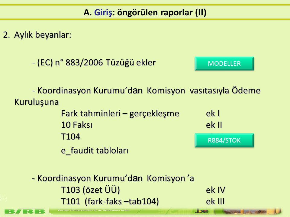 2.Aylık beyanlar: - (EC) n° 883/2006 Tüzüğü ekler - Koordinasyon Kurumu'd a n Komisyon vasıtasıyla Ödeme Kuruluşuna Fark tahminleri – gerçekleşme ek I 10 Faksıek II T104 ek V - Koordinasyon Kurumu'd a n Komisyon vasıtasıyla Ödeme Kuruluşuna Fark tahminleri – gerçekleşme ek I 10 Faksıek II T104 ek V e_faudit tabloları - Koordinasyon Kurumu'd a n Komisyon 'a T103 (özet ÜÜ)ek IV T101 (fark-faks –tab104)ek III MODELLER MODELLER R884/STOK