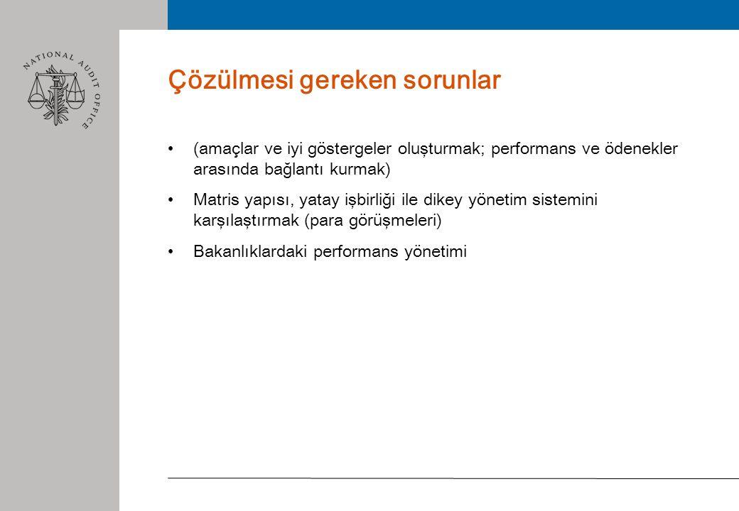 Çözülmesi gereken sorunlar • (amaçlar ve iyi göstergeler oluşturmak; performans ve ödenekler arasında bağlantı kurmak) • Matris yapısı, yatay işbirliği ile dikey yönetim sistemini karşılaştırmak (para görüşmeleri) • Bakanlıklardaki performans yönetimi