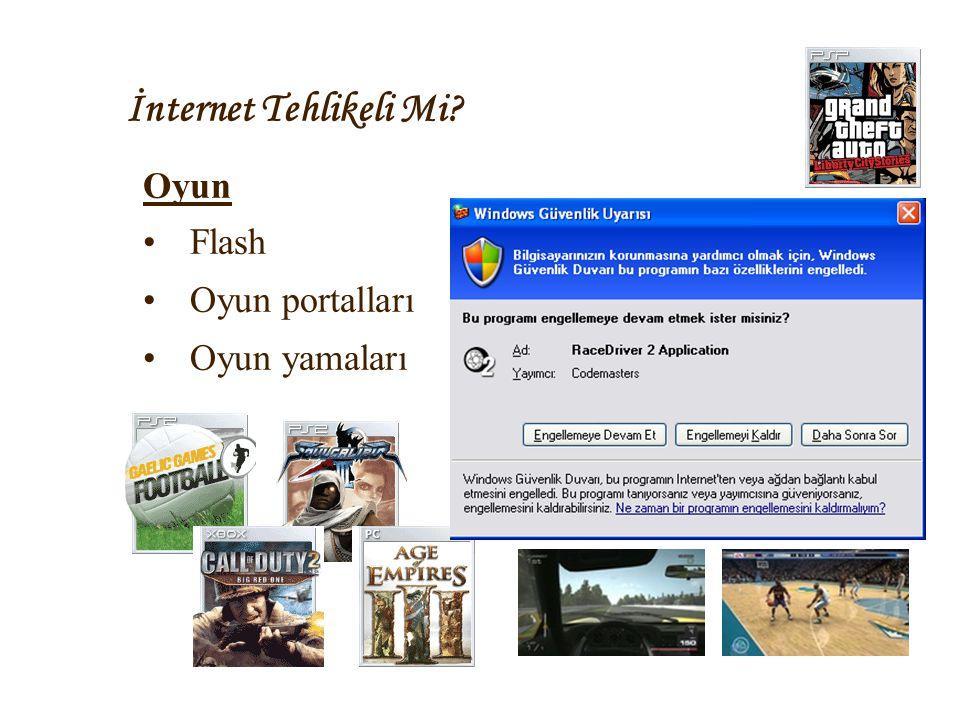 İnternet Tehlikeli Mi? Oyun •Flash •Oyun portalları •Oyun yamaları