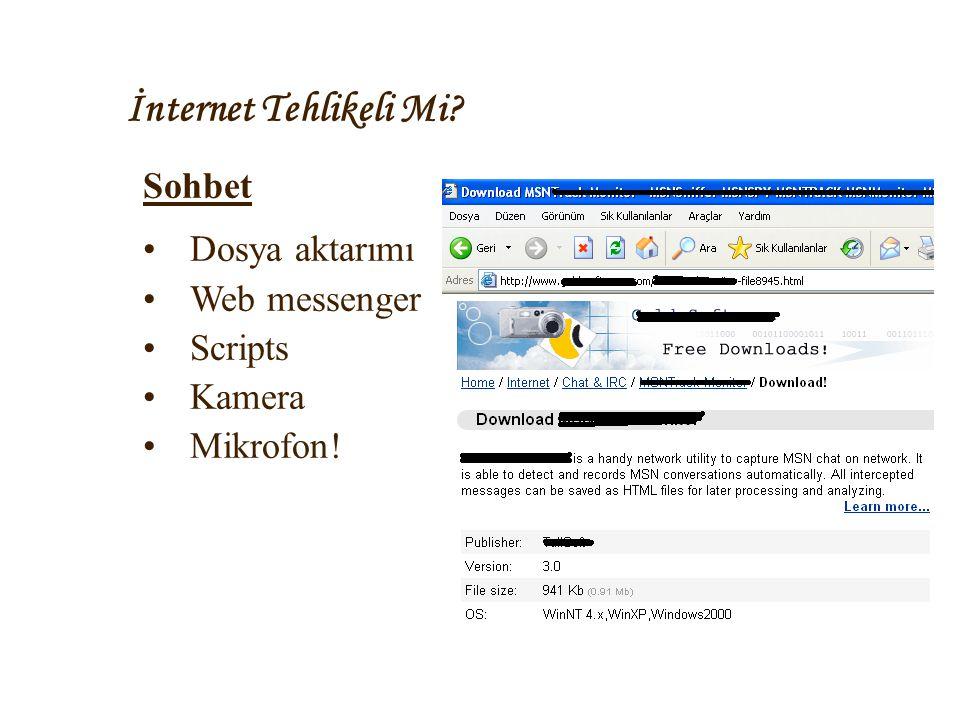 İnternet Tehlikeli Mi? Sohbet •Dosya aktarımı •Web messenger •Scripts •Kamera •Mikrofon!
