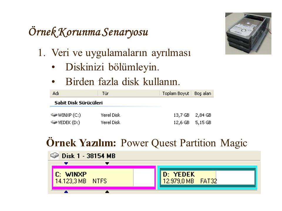 Örnek Korunma Senaryosu 1.Veri ve uygulamaların ayrılması •Diskinizi bölümleyin. •Birden fazla disk kullanın. Örnek Yazılım: Power Quest Partition Mag