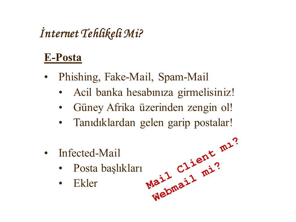 İnternet Tehlikeli Mi? E-Posta •Phishing, Fake-Mail, Spam-Mail •Acil banka hesabınıza girmelisiniz! •Güney Afrika üzerinden zengin ol! •Tanıdıklardan