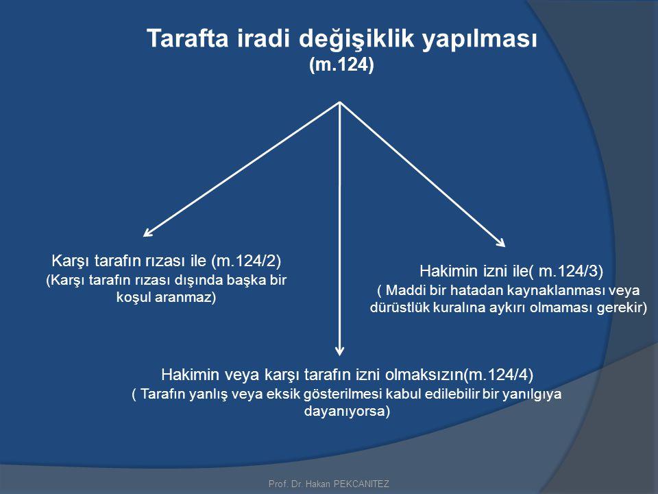 Tarafta iradi değişiklik yapılması (m.124) Prof. Dr. Hakan PEKCANITEZ Hakimin veya karşı tarafın izni olmaksızın(m.124/4) ( Tarafın yanlış veya eksik