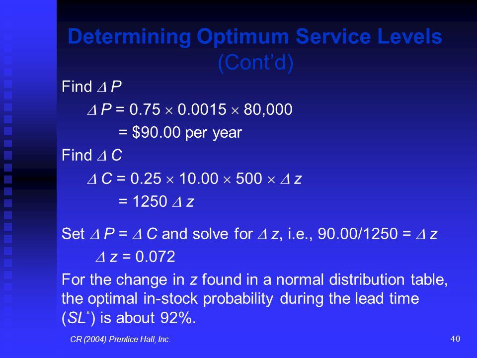 40 Determining Optimum Service Levels (Cont'd) Find  P  P = 0.75  0.0015  80,000 = $90.00 per year Find  C  C = 0.25  10.00  500   z = 1250