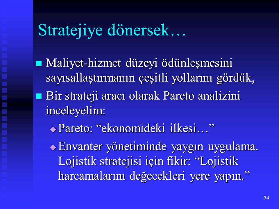 54 Stratejiye dönersek…  Maliyet-hizmet düzeyi ödünleşmesini sayısallaştırmanın çeşitli yollarını gördük,  Bir strateji aracı olarak Pareto analizini inceleyelim:  Pareto: ekonomideki ilkesi…  Envanter yönetiminde yaygın uygulama.