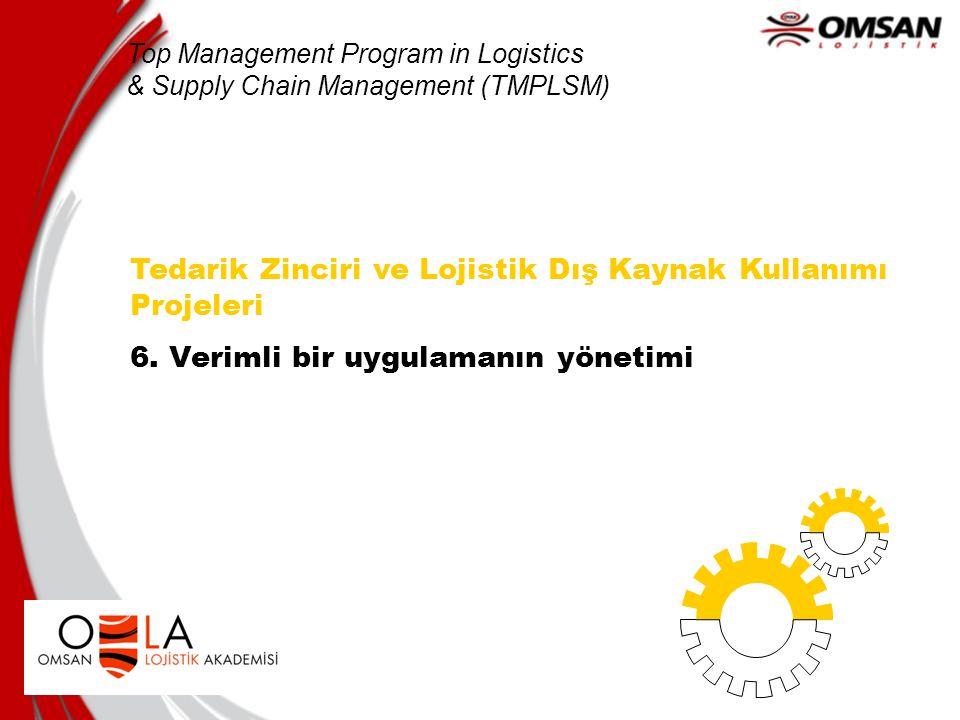 Tedarik Zinciri ve Lojistik Dış Kaynak Kullanımı Projeleri 6. Verimli bir uygulamanın yönetimi Top Management Program in Logistics & Supply Chain Mana
