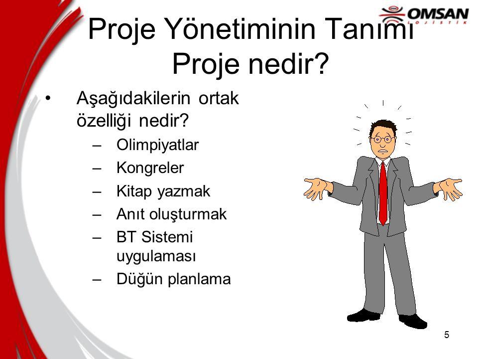 5 Proje Yönetiminin Tanımı Proje nedir.•Aşağıdakilerin ortak özelliği nedir.