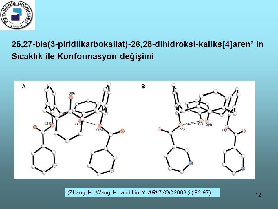 12 25,27-bis(3-piridilkarboksilat)-26,28-dihidroksi-kaliks[4]aren' in Sıcaklık ile Konformasyon değişimi (Zhang, H., Wang, H., and Liu, Y. ARKIVOC 200