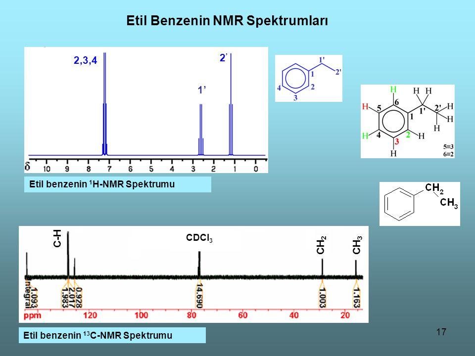 17 Etil Benzenin NMR Spektrumları C-H CH 2 CH 3 CDCl 3 Etil benzenin 13 C-NMR Spektrumu Etil benzenin 1 H-NMR Spektrumu 1' 2,3,4 2'2'