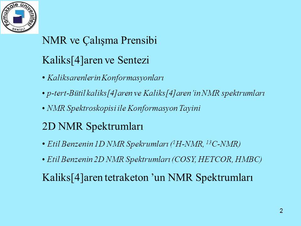 2 NMR ve Çalışma Prensibi Kaliks[4]aren ve Sentezi • Kaliksarenlerin Konformasyonları • p-tert-Bütil kaliks[4]aren ve Kaliks[4]aren'in NMR spektrumlar