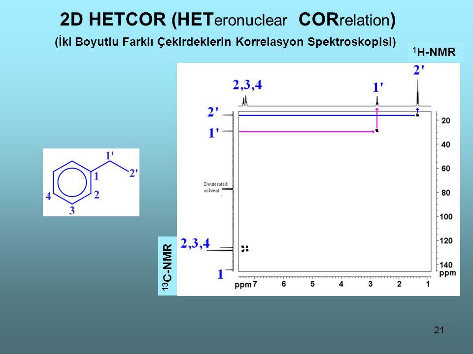 21 2D HETCOR (HET eronuclear COR relation ) (İki Boyutlu Farklı Çekirdeklerin Korrelasyon Spektroskopisi) 1 H-NMR 13 C-NMR
