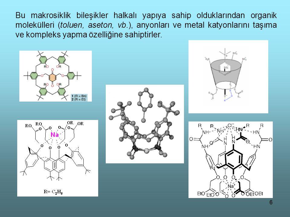 6 Bu makrosiklik bileşikler halkalı yapıya sahip olduklarından organik molekülleri (toluen, aseton, vb.), anyonları ve metal katyonlarını taşıma ve ko