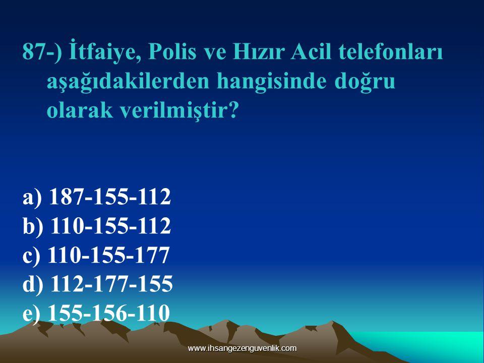 www.ihsangezenguvenlik.com 87-) İtfaiye, Polis ve Hızır Acil telefonları aşağıdakilerden hangisinde doğru olarak verilmiştir.