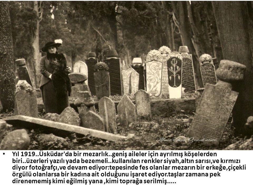 • Yıl 1919..Üsküdar'da bir mezarlık..geniş aileler için ayrılmış köşelerden biri..üzerleri yazılı yada bezemeli..kullanılan renkler siyah,altın sarısı