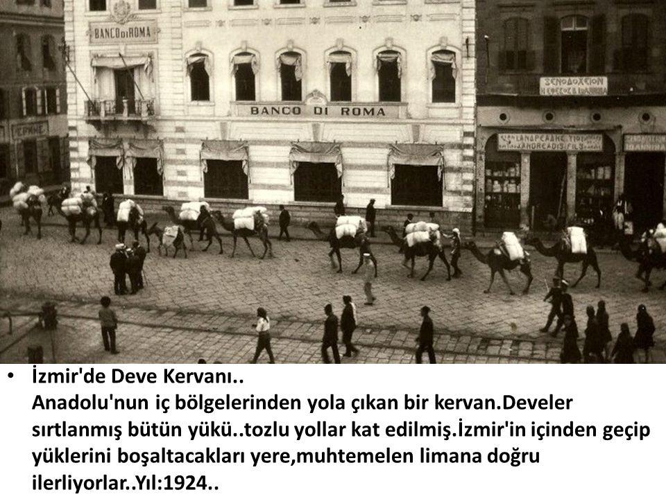 • İzmir'de Deve Kervanı.. Anadolu'nun iç bölgelerinden yola çıkan bir kervan.Develer sırtlanmış bütün yükü..tozlu yollar kat edilmiş.İzmir'in içinden