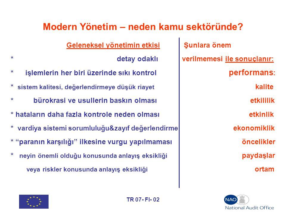 TR 07- FI- 02 Modern Yönetim – neden kamu sektöründe? Geleneksel yönetimin etkisi Şunlara önem * detay odaklı verilmemesi ile sonuçlanır: * işlemlerin