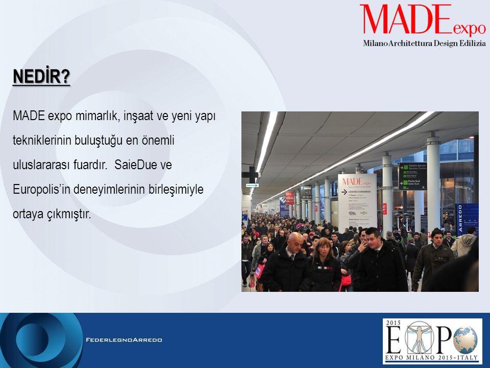 NEDİR? MADE expo mimarlık, inşaat ve yeni yapı tekniklerinin buluştuğu en önemli uluslararası fuardır. SaieDue ve Europolis'in deneyimlerinin birleşim