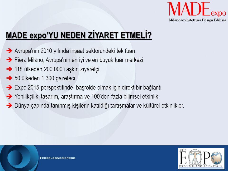 MADE expo'YU NEDEN Z İ YARET ETMEL İ ?  Avrupa'nın 2010 yılında inşaat sektöründeki tek fuarı.  Fiera Milano, Avrupa'nın en iyi ve en büyük fuar mer