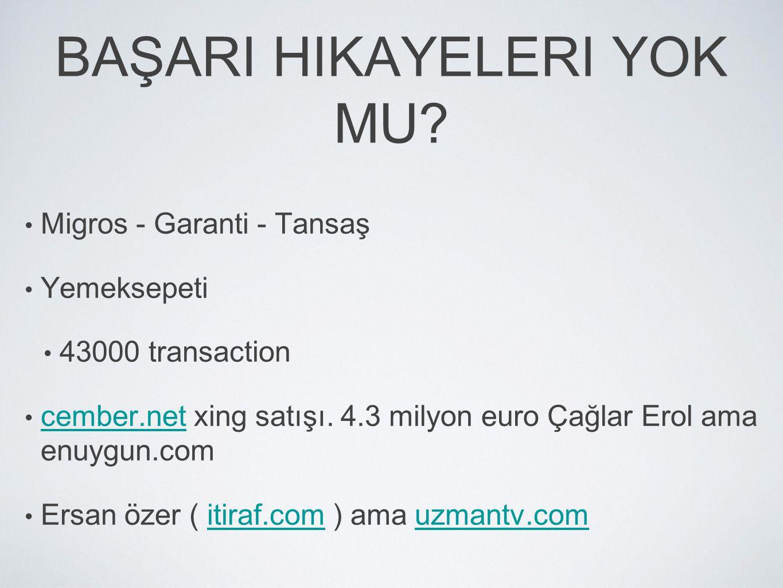 BAŞARI HIKAYELERI YOK MU? • Migros - Garanti - Tansaş • Yemeksepeti • 43000 transaction • cember.net xing satışı. 4.3 milyon euro Çağlar Erol ama enuy